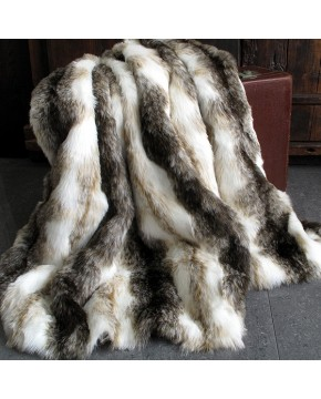 Italian Wolf striped faux fur throw blanket
