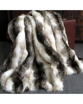 Italian Wolf Faux Fur Throw
