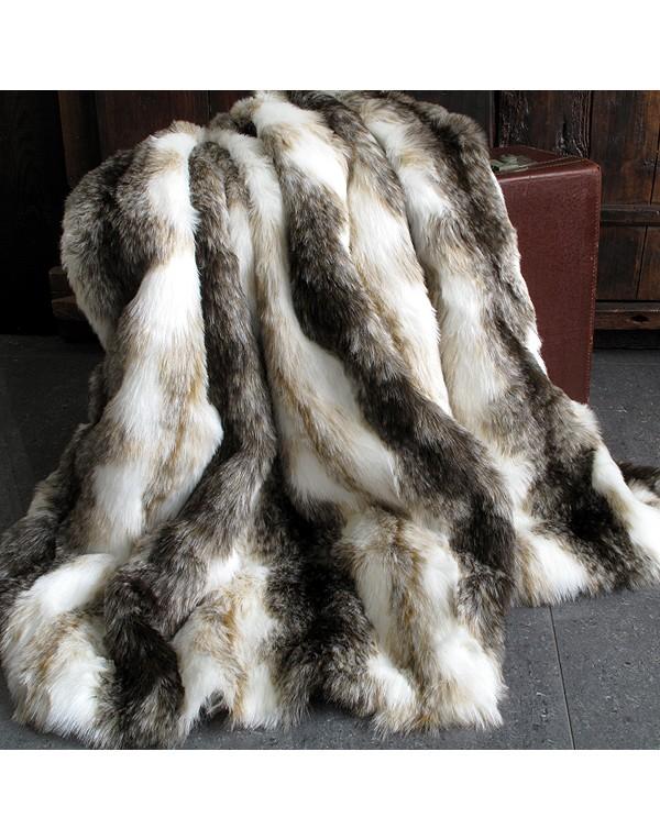 Italian Wolf striped faux fur throw blanket