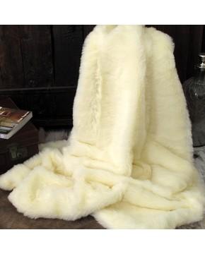 Cream Polar Bear Faux Fur Throw