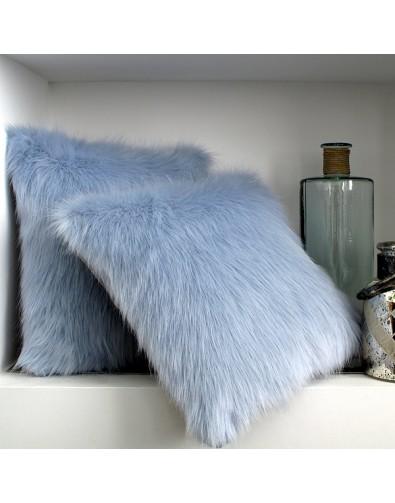 Faux Fur Cushions, Baby Blue Faux Fur Cushion , faux-fur-throws
