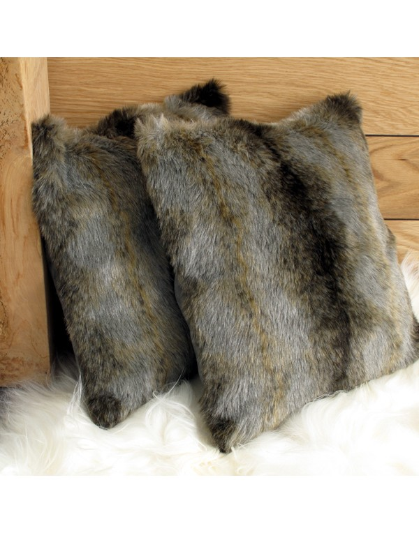 Faux Fur Cushions, Grey Wolf Faux Fur Cushion , faux-fur-throws