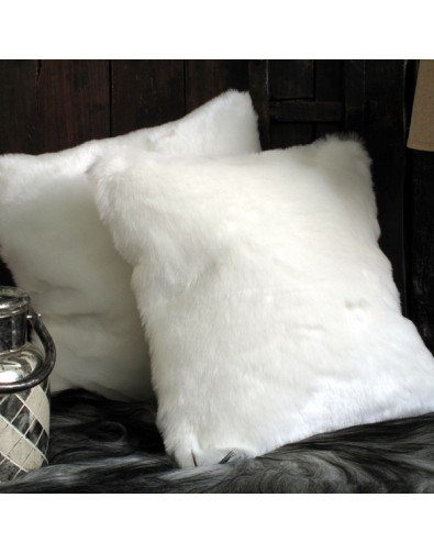 Faux Fur Cushions, White Polar Bear Faux Fur Cushion , faux-fur-throws
