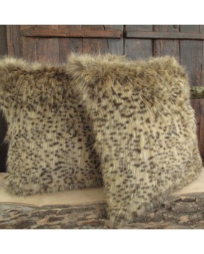 Bobcat Fox Faux Fur Cushion