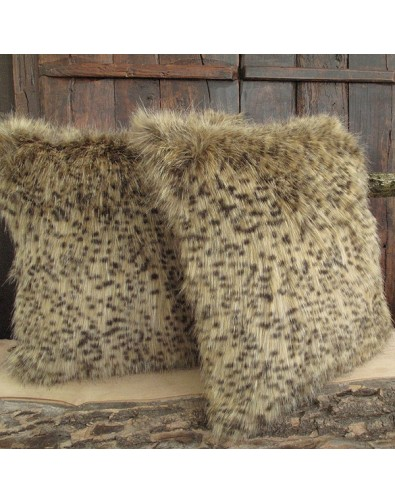 Bobcat Fox Faux Fur Cushion