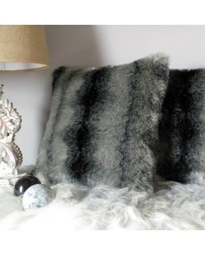 Black Wolf Faux Fur Cushion