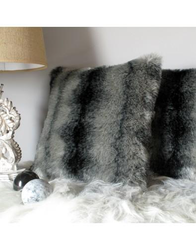 Faux Fur Cushions, Black Wolf Faux Fur Cushion , faux-fur-throws