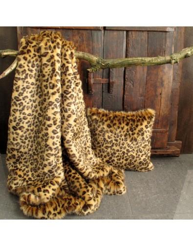 Faux fur throw Golden Leopard fake fur blanket