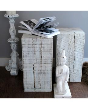 White distressed oak lamp bedside table