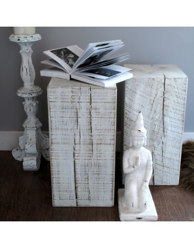 Oak Side Tables, White distressed oak lamp bedside table , faux-fur-throws