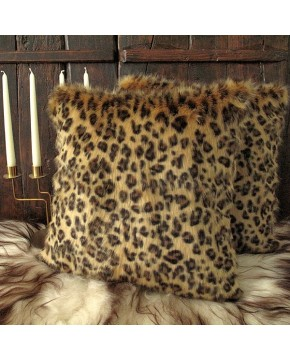 Golden Leopard Faux Fur Cushion