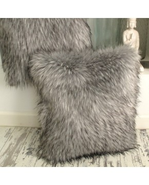 Warwick Grey Faux Fur Cushion