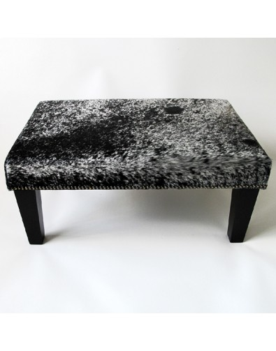 Cowhide Footstools, Large black speckled foot stool with modern black tapered leg