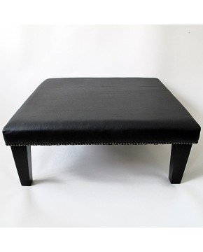 Large Square Black Leather Footstool 114