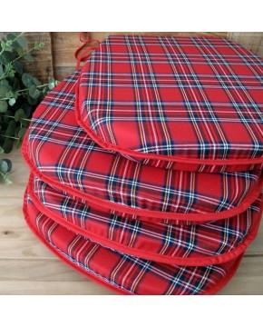 Red Tartan Classic D Seat Pads