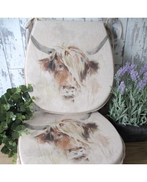 Highland Cow reversible classic D seat pads