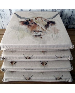Highland Cow Reversible Square Seat Pads