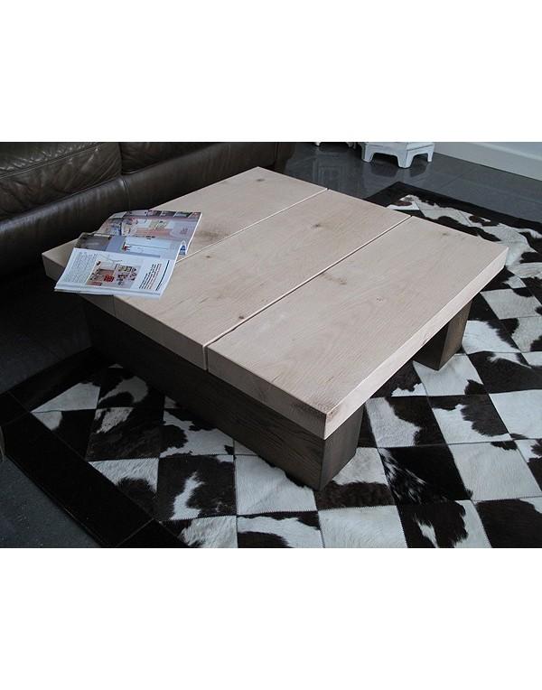 Oak Coffee Tables, Square Solid Two Tone Oak 3 board Coffee Table , faux-fur-throws