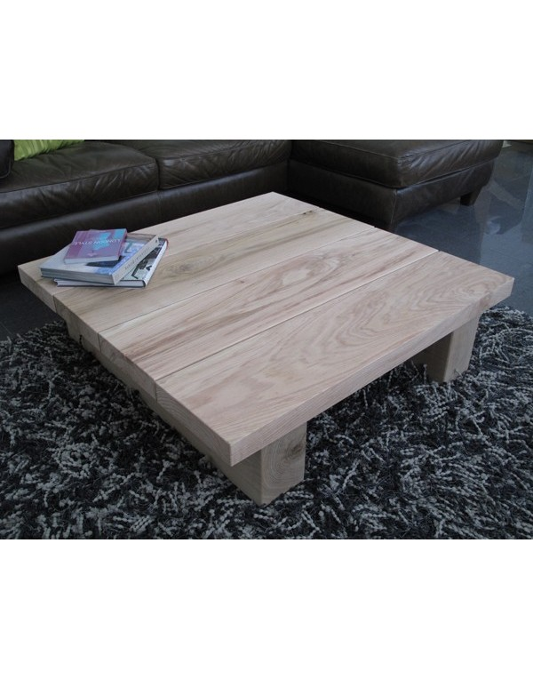 Natural solid oak 4 board square coffee table light oak coffee table Light oak coffee tables