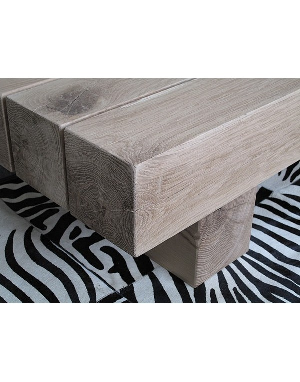 Natural Solid Light Oak 3 Beam Coffee Table Heavy Oak Coffee Table
