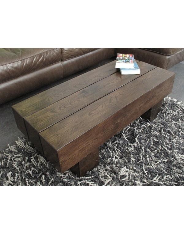 Dark Solid Oak 3 Beam Coffee Table Heavy Dark Oak Rustic Coffee Table