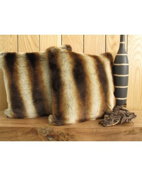 Faux Fur Cushions, Gold Brown Chinchilla Faux Fur Cushion , faux-fur-throws