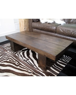 Dark 2 Board Solid Oak Coffee Table
