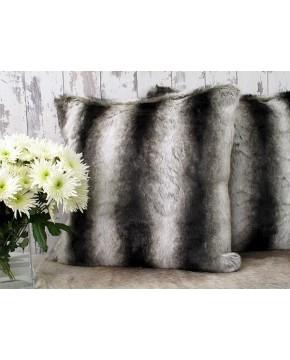 Silver Brown Chinchilla Faux Fur Cushion