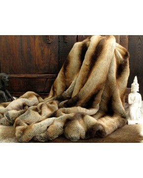 Faux Fur Throws, Gold Brown Chinchilla Faux Fur Throw , faux-fur-throws