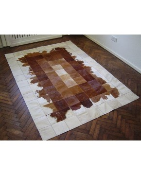 Patchwork Cowhide Rugs, Brown White Patchwork Cowhide Rug 518 , faux-fur-throws