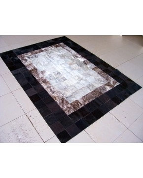 Patchwork Cowhide Rugs, Black Border Patchwork Cowhide Rug X014 , faux-fur-throws