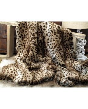 Faux Fur Throw Beige Jaguar 150 x 150