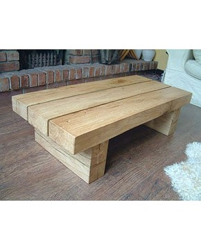 Slim 3 Beam Solid Light Oak Coffee Table