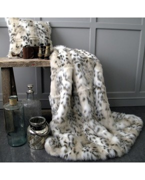 Siberian Lynx Faux Fur Throw