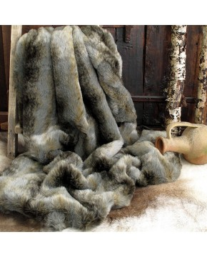 Fur Throw Grey Wolf, Grey Striped Fur Throw, Grey & Brown Fur Throw