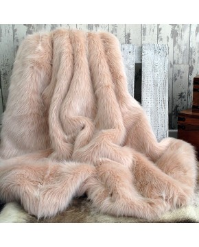 Candyfloss pink long haired faux fur throw blanket