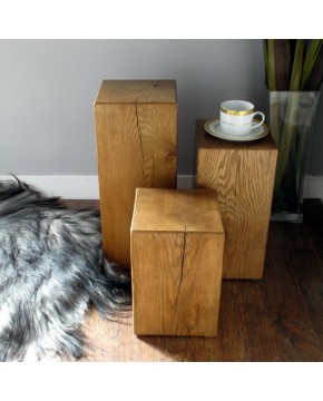 Set of 3 Medium Oak Block Lamp Tables