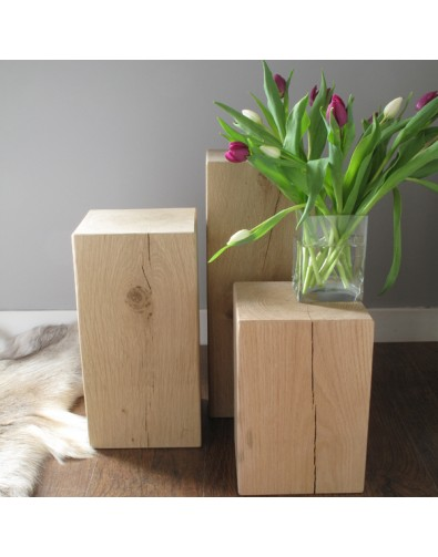 Oak Side Tables, Set of 3 Light Oak Block Lamp Tables , faux-fur-throws