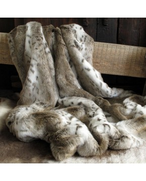 Faux Fur Throws, Beige Lynx Faux Fur Throw , faux-fur-throws