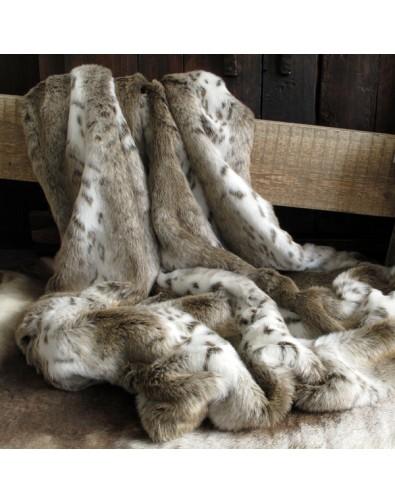 Faux Fur Throws, Beige Lynx Faux Fur Throw , faux-fur-throws